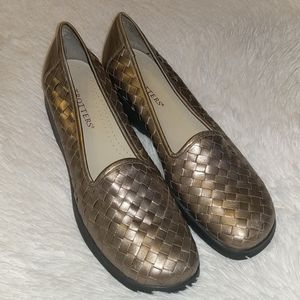 Trotters Metallic Gold Woven Leather Loafers sz 11